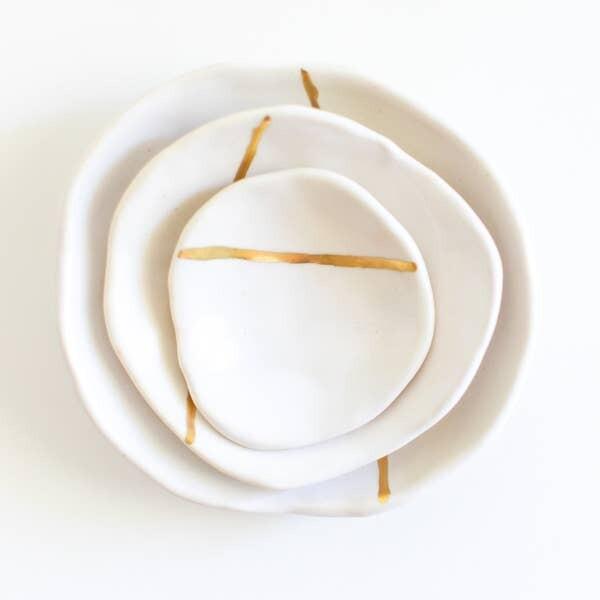 JKH Nesting Bowl Gold Stripe Small