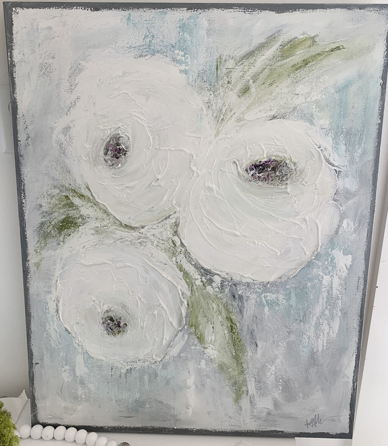 24x30 Gray Edge Flower Painting