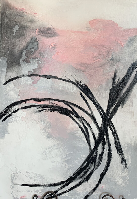 24x36 Pink & Black Painting