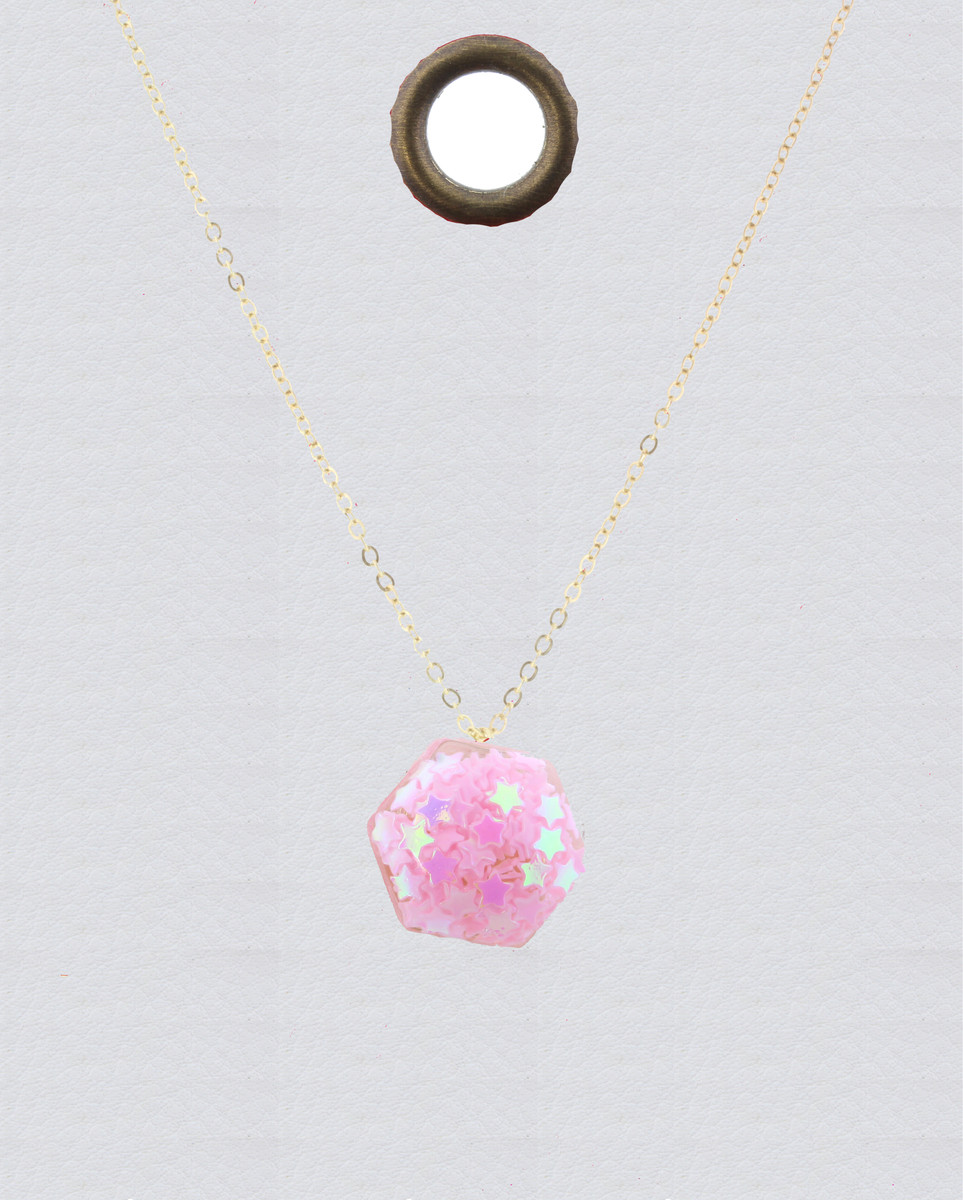 JM Confetti Necklace Pink Hexagon