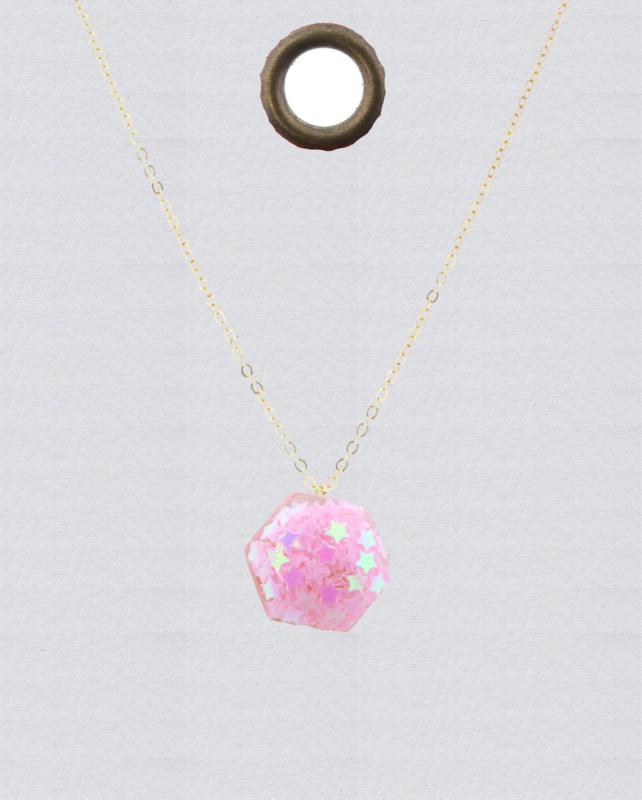 JM Confetti Necklace Pink Hexagon