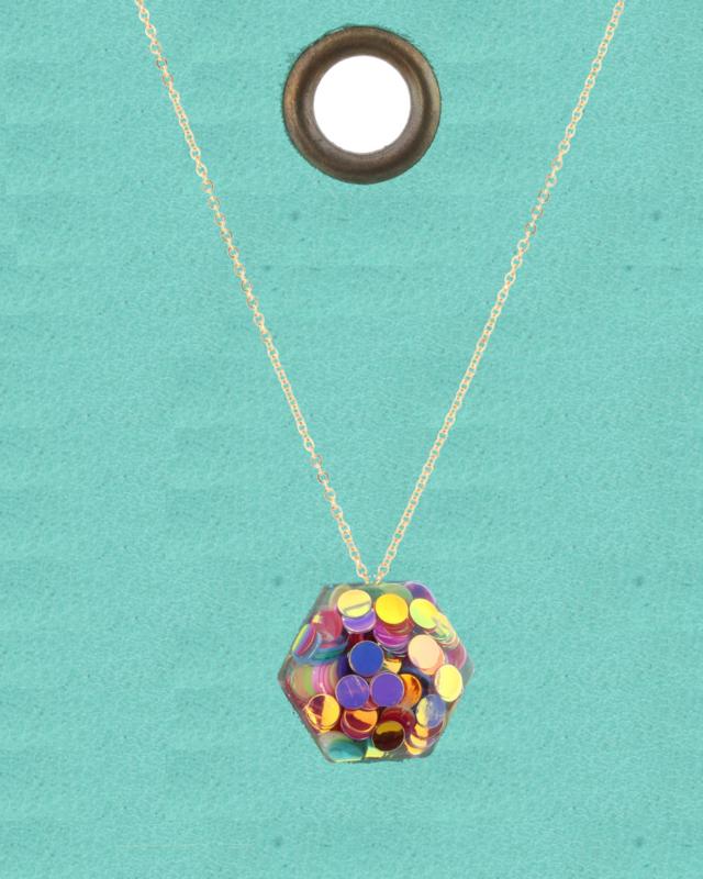 JM Confetti Necklace Hexagon