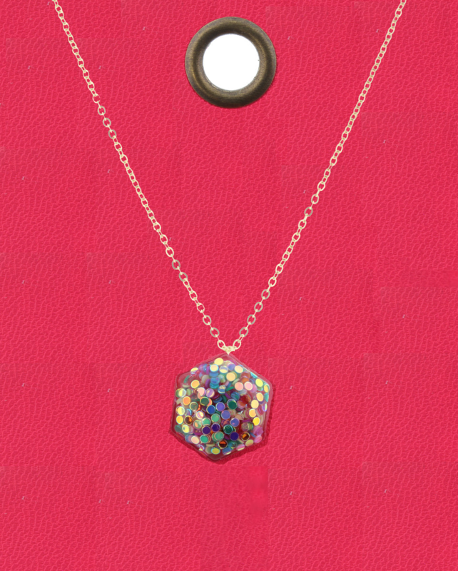JM Glitter Necklace Hexagon