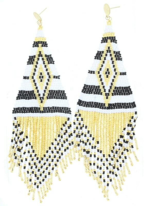 JM BLACK/GOLD BEADED FRINGE EARRINGS