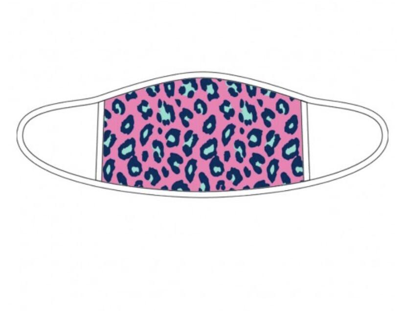 WB Adult Pink Leopard White Trim Mask