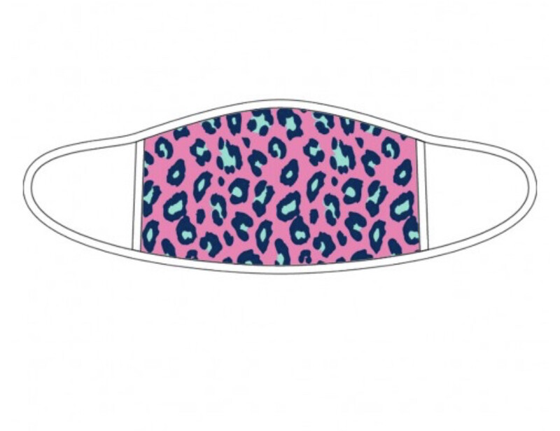 WB Adult Pink Leopard White Trim Mask