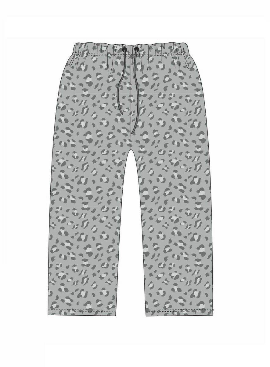 JM PJ Pants Gray Leopard Small