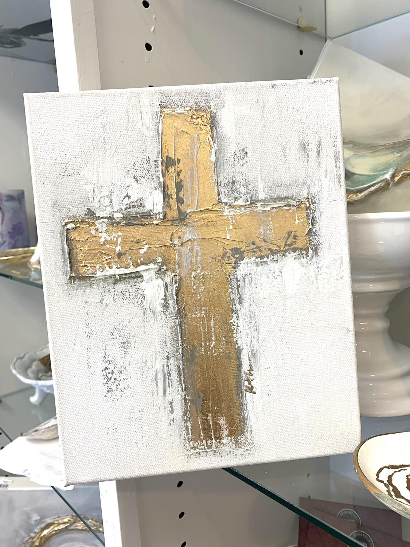 8x10 Cross Painting Grey