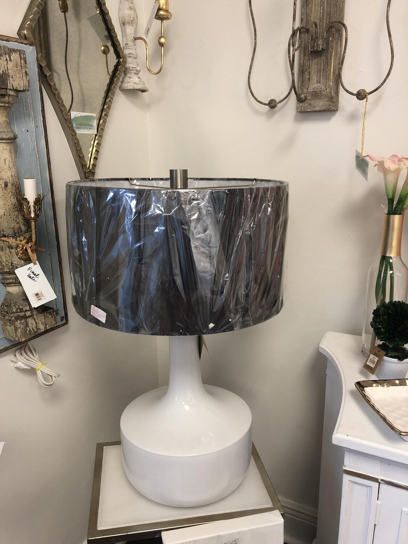 Uttermost Black Shade White Base Lamp