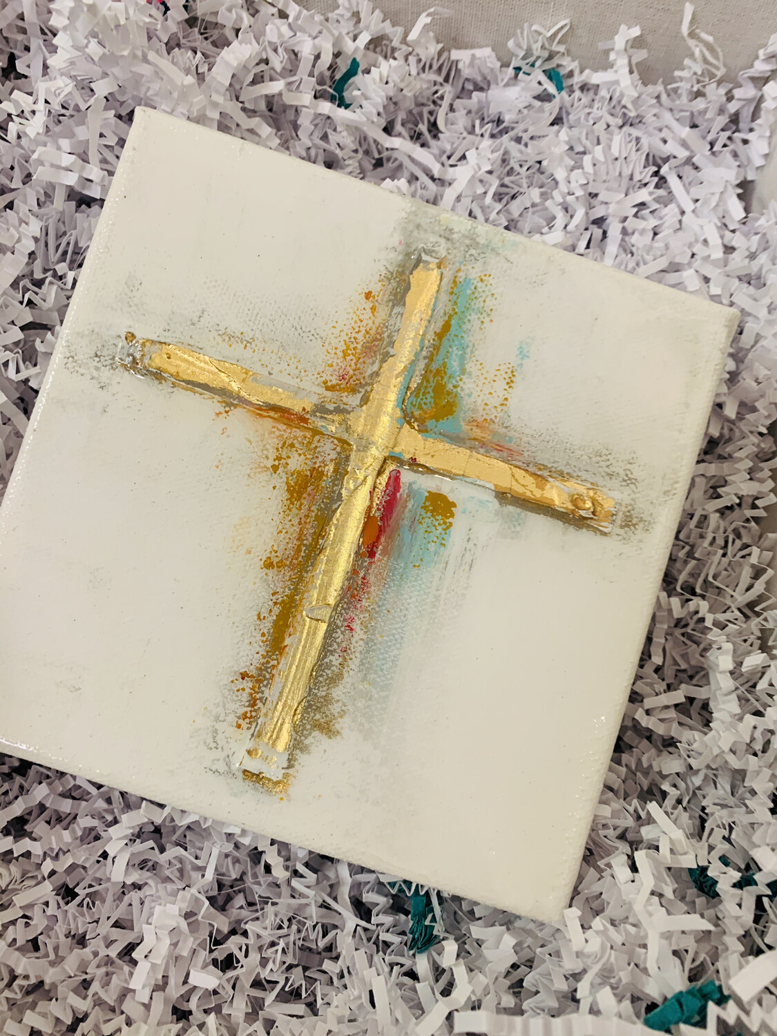 6x6 Cross Painting Multicolor
