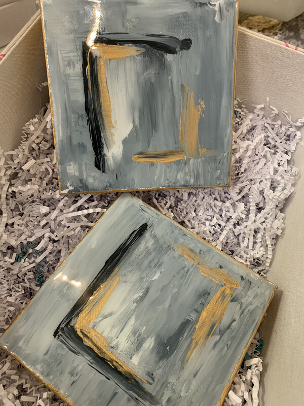 6x6 Abstract Painting Gold/Blue