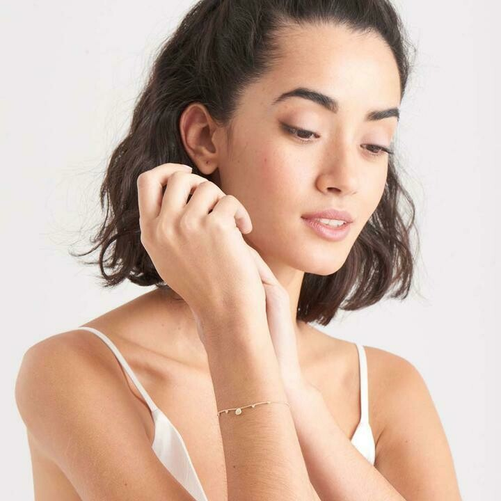 Ania Haie Mother Of Pearl Drop Disc Bracelet Gold