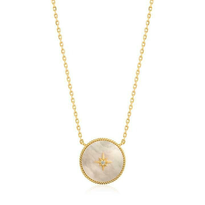 Ania Haie Mother Of Pearl Emblem Necklace Gold
