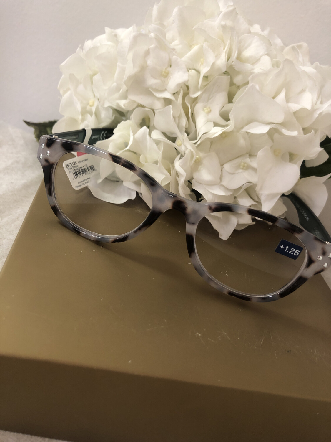 Peepers Showstopper Gray Tortoise/Green +1.25
