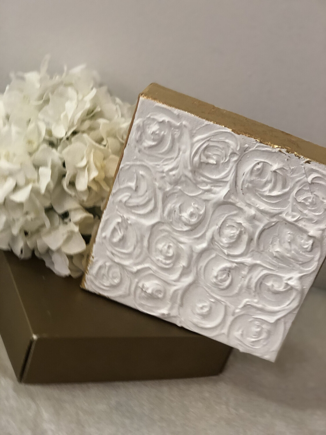 6x6 White Rose Painting Gold Trim