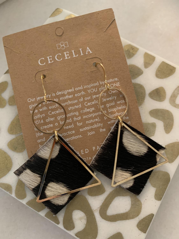 Cecelia Diamond Leather Earrings Black Cow