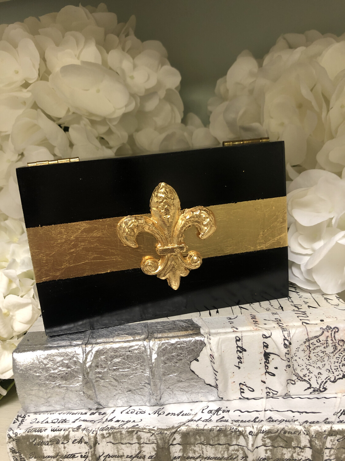 Wooden Jewelry Box Black Fleur De Lis