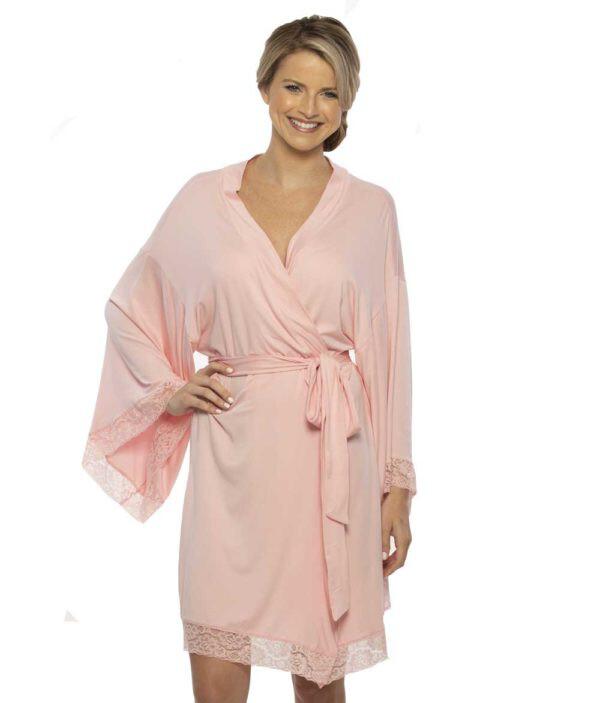 Paisley Lace Robe Pink Small