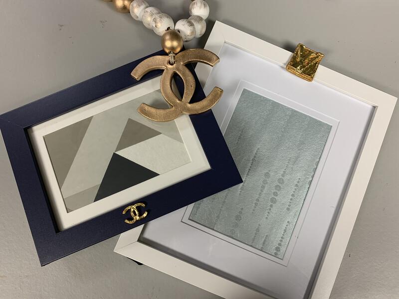 5x7 Designer Frame Navy Triangle CC