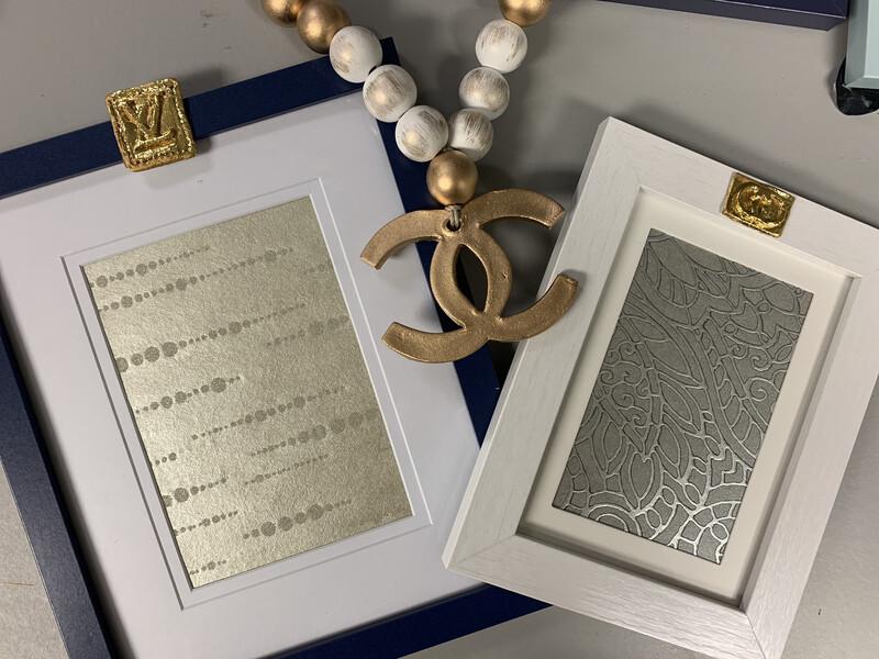 5x7 Designer Frame White Silver Gucci
