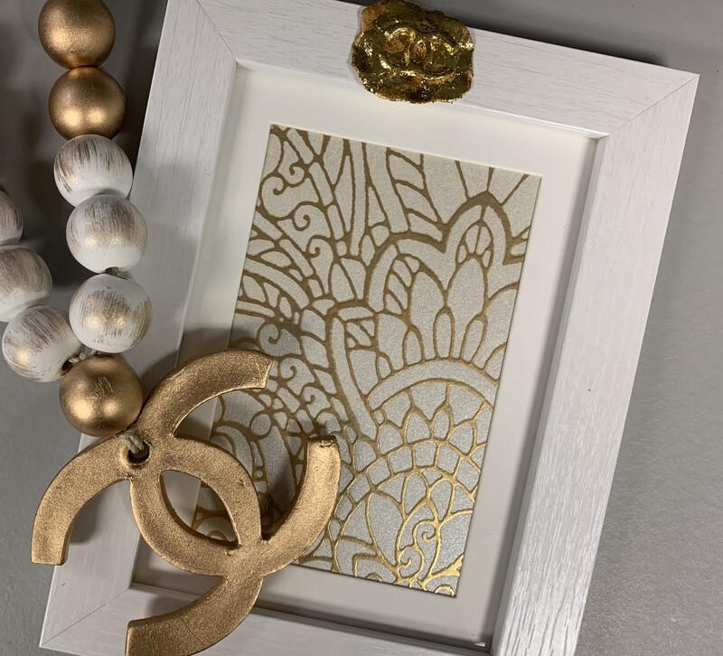 5x7 Designer Frame White Gold CC