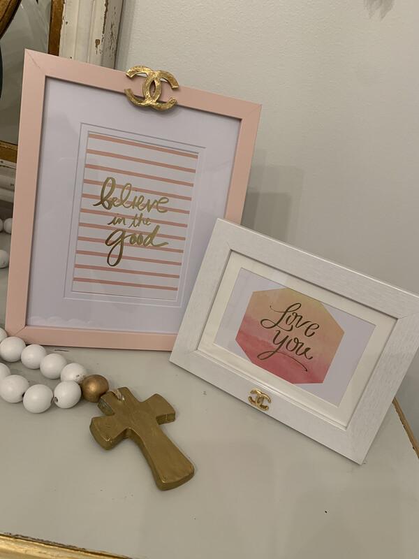 8x10 Designer Believe Frame Pink CC