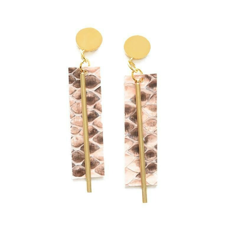 Ink & Alloy Earrings Pink Python 515