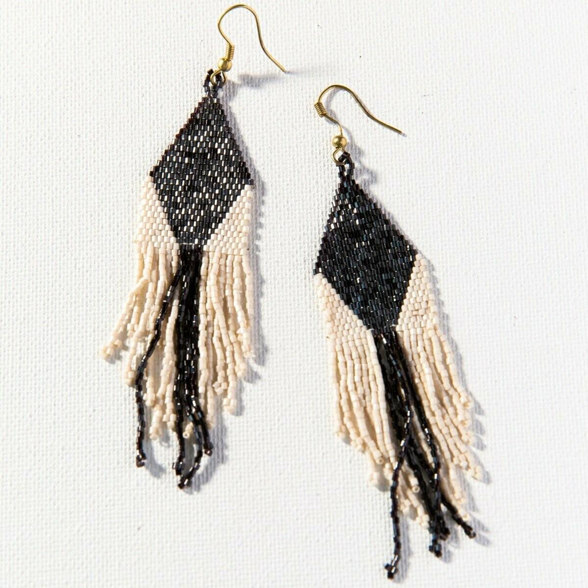 Ink & Alloy Earrings Black/Ivory 902