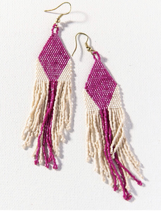 Ink & Alloy Earrings 910 Magenta/Ivory