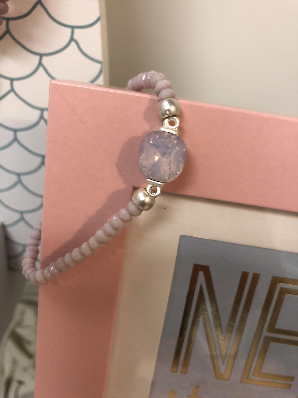 Crystal Stretch Bracelet Light Pink