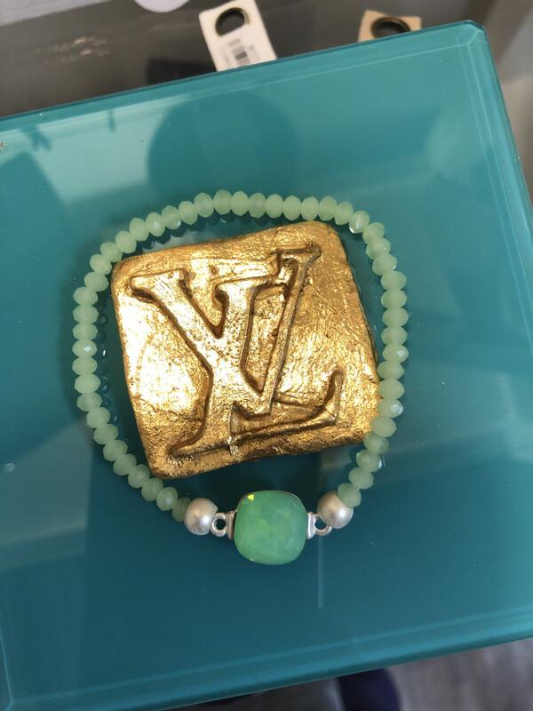 Crystal Stretch Bracelet Green