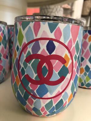 Designer Wine Tumbler Pink Circle CC