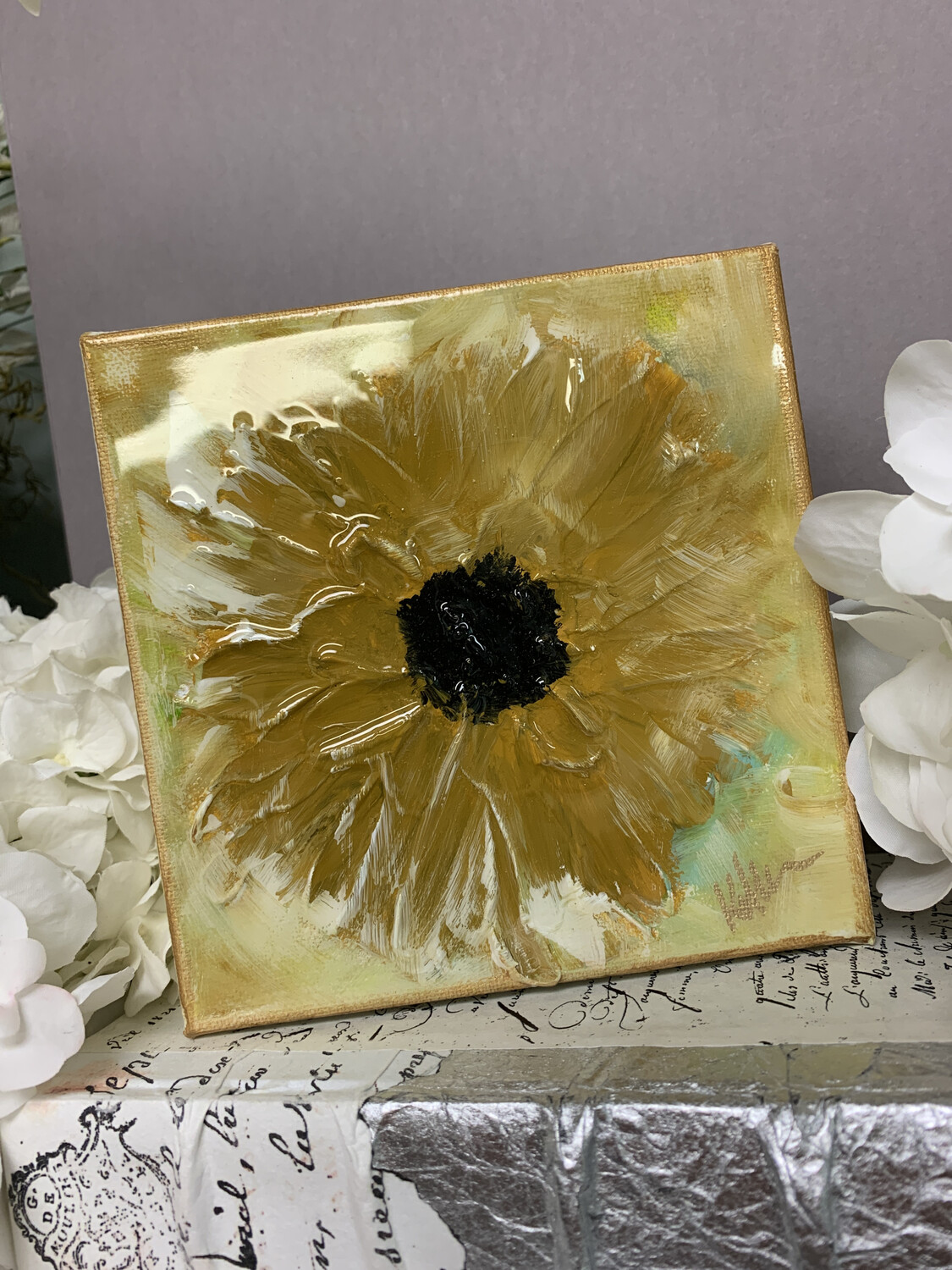 6x6 Sunflower Gloss Painting