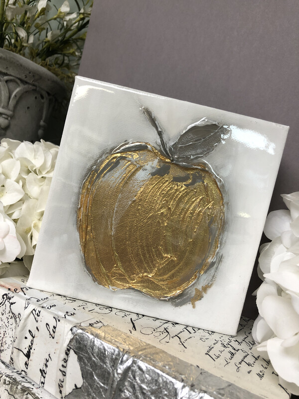 6x6 Apple Painting Gold