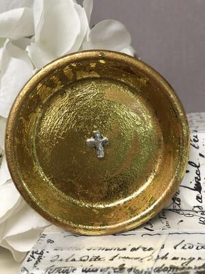 Metal Cross Trinket Dish Gold