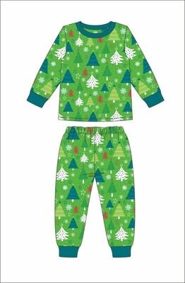 JM Christmas Kids Pjs Green Small