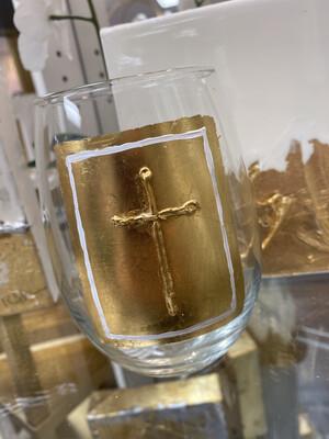 Gold Cross Stemless