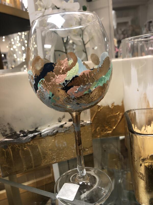 SB Painted Wine Glass Pastel Multi