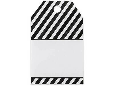 50 Gift Tags Black Stripe