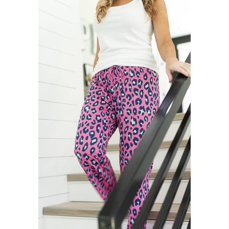 VL S/M Hot Pink Leopard Pj Pants