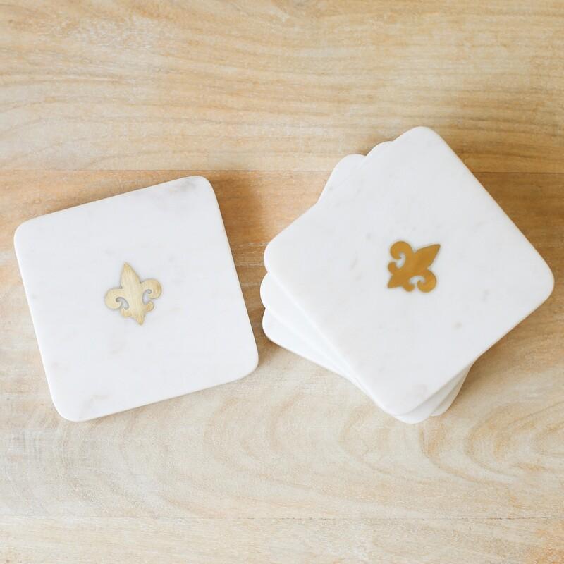 TRS Fleur De Lis Marble Coasters