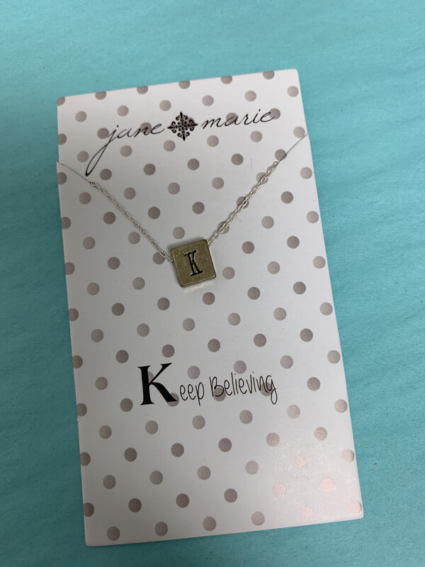 JM Initial Necklace Block K