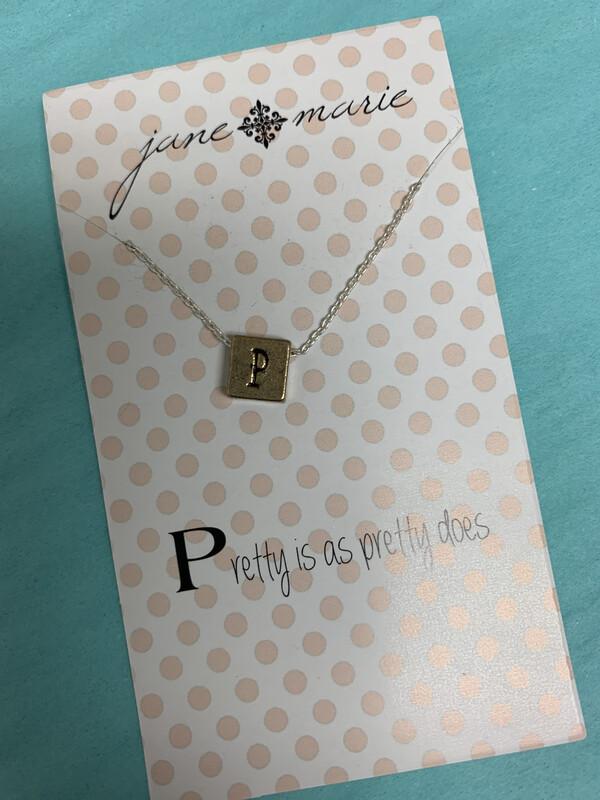 JM Initial Necklace Block P