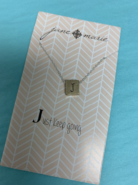 JM Initial Necklace Block J