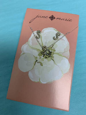 JM Initial Necklace/Earring Set S