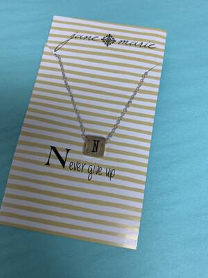 JM Initial Necklace Block N