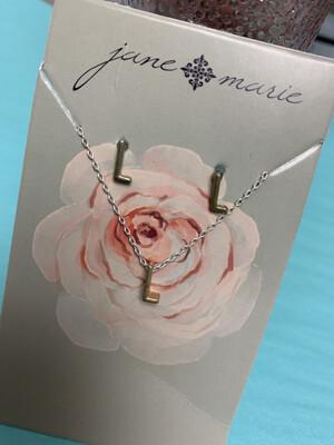 JM Initial Necklace/Earring Set L