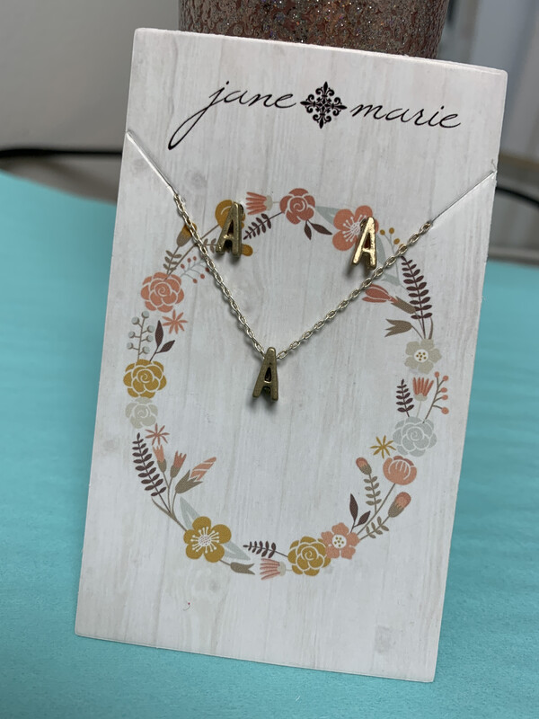 JM Initial Necklace/Earring Set A