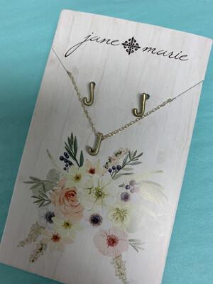 JM Initial Necklace/Earring Set J
