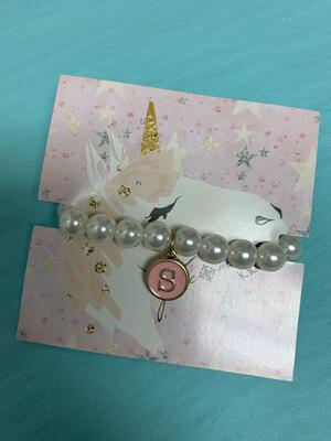 JM Initial Pearl Bracelet S
